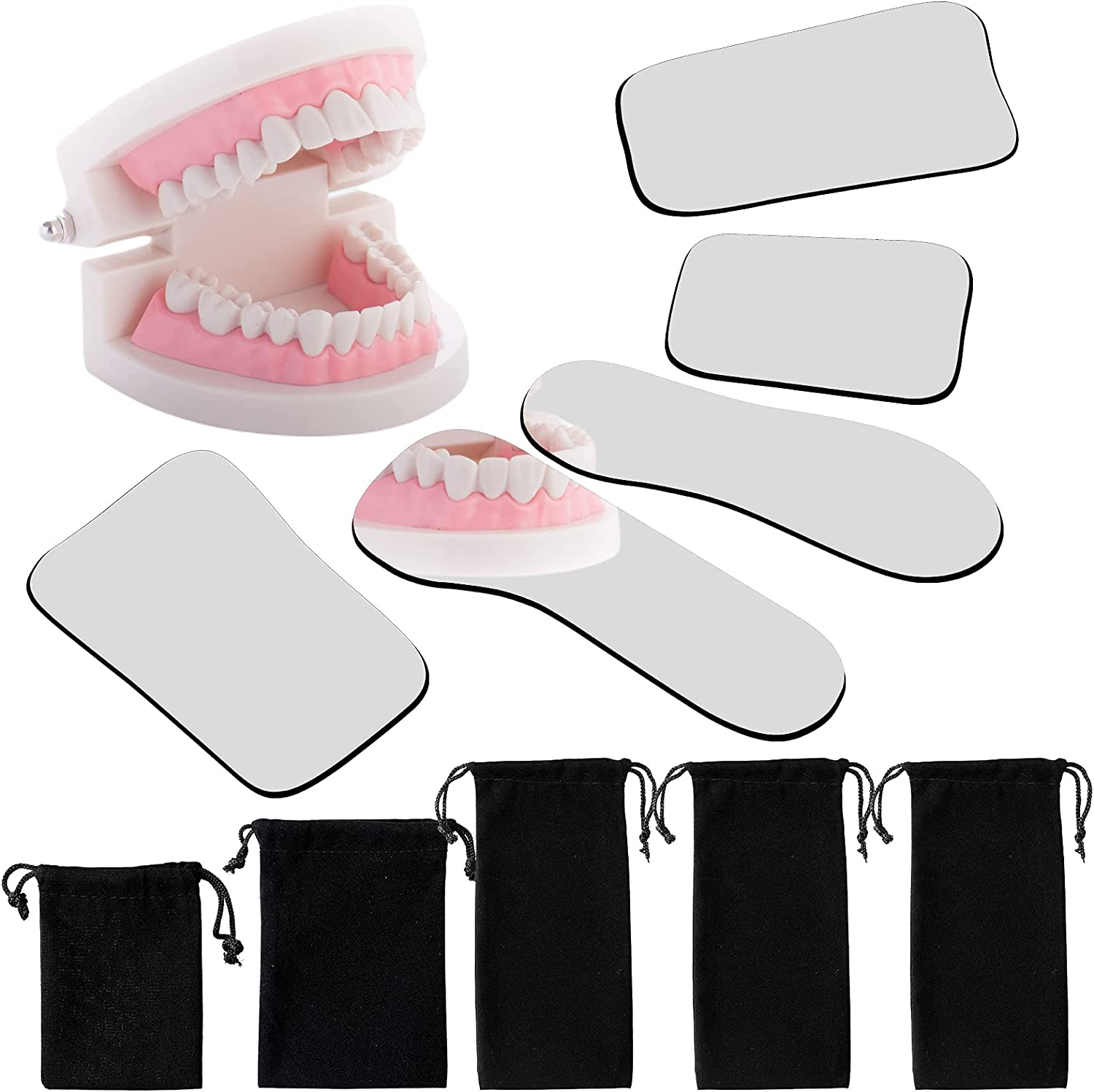 5 Pieces Dental Mouth Mirror Occlusal Reflector Mirror Intraoral Photography Mirror 2 Sided Dental Plated Glass Intraoral ...