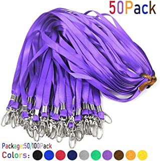 Purple Lanyards 50Pcs 17.5 inch Nylon Lanyard,Lanyards Swivel Hooks Clips Great for ID Name Tags Badges/Key Chains