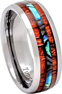 Tungsten Ring Hawaiian Koa Wood Abalone 8mm Comfort Fit Band