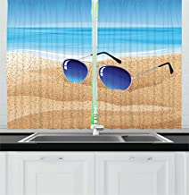 Lunarable Beach Kitchen Curtains, Close up Sunglasses on Sand with The Sea on The Background, Window Drapes 2 Panel Set for Kitchen Cafe Decor, 55