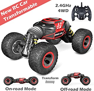 Jasonwell 1:10 Transformable RC Car Remote Control Cars for Kids 4WD Off Road Vehicle Rock Crawler 2.4Ghz Rechargeable Monster Truck Buggy Hobby Racing Car Toys Gifts Boys Girls 6 7 8 9 10 12 Year Old