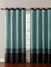 VCNY Home Barclay window treatment panels 55x84, Chocolate Blue