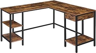 HOOBRO Großer Schreibtisch, L-förmiger Computertisch, Eckschreibtisch mit Schublade und Ablagen, platzsparender Bürotisch,...
