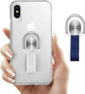 iPhone X/XS Case with Ring Kickstand & Finger Strap, Slim Fit Translucent Hard Cover with Gray & Blue Finger Grips Loop for Apple iPhone X/10/XS 5.8'', Support Magnetic Car Mount and Wireless Charging