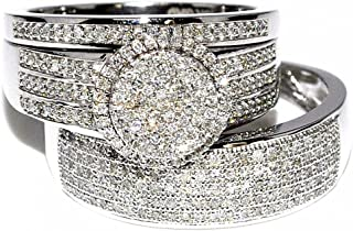 Rings-MidwestJewellery His & Her 10k White Gold Halo Style Wedding Ring (2/3cttw Diamond, I2/i3 Clarity/ I/j Color)