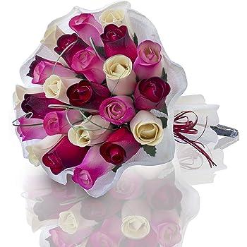 Bouquet de Roses /éternelles en Bois pour Toutes Les Occasions Couleurs Assorties