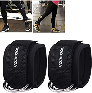 VORCOOL 2PCS Ankle Straps for Cable Machines Weightlifting Gym Workout Fitness Double D-Ring Neoprene Padded Ankle Cuffs f...