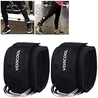 VORCOOL 2PCS Ankle Straps for Cable Machines Weightlifting Gym Workout Fitness Double D-Ring Neoprene Padded Ankle Cu...