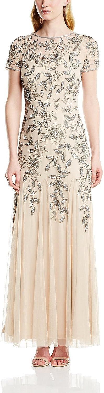 Davikey Women's Floral Beaded Godet Gown