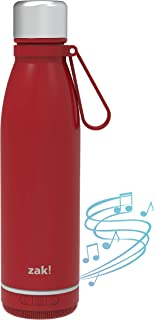 Zak Designs Zak! Play Bluetooth Smart Stainless Steel Water Bottle Wireless Speaker, Reusable Stainless Steel Double-Wall ...