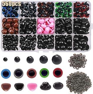 NATUCE 560 Pièces Colorés Yeux de Securite et Nez de Securite en Plastique, Comprend 170pcs Yeux 110pcs Nez avec 280pcs Ro...