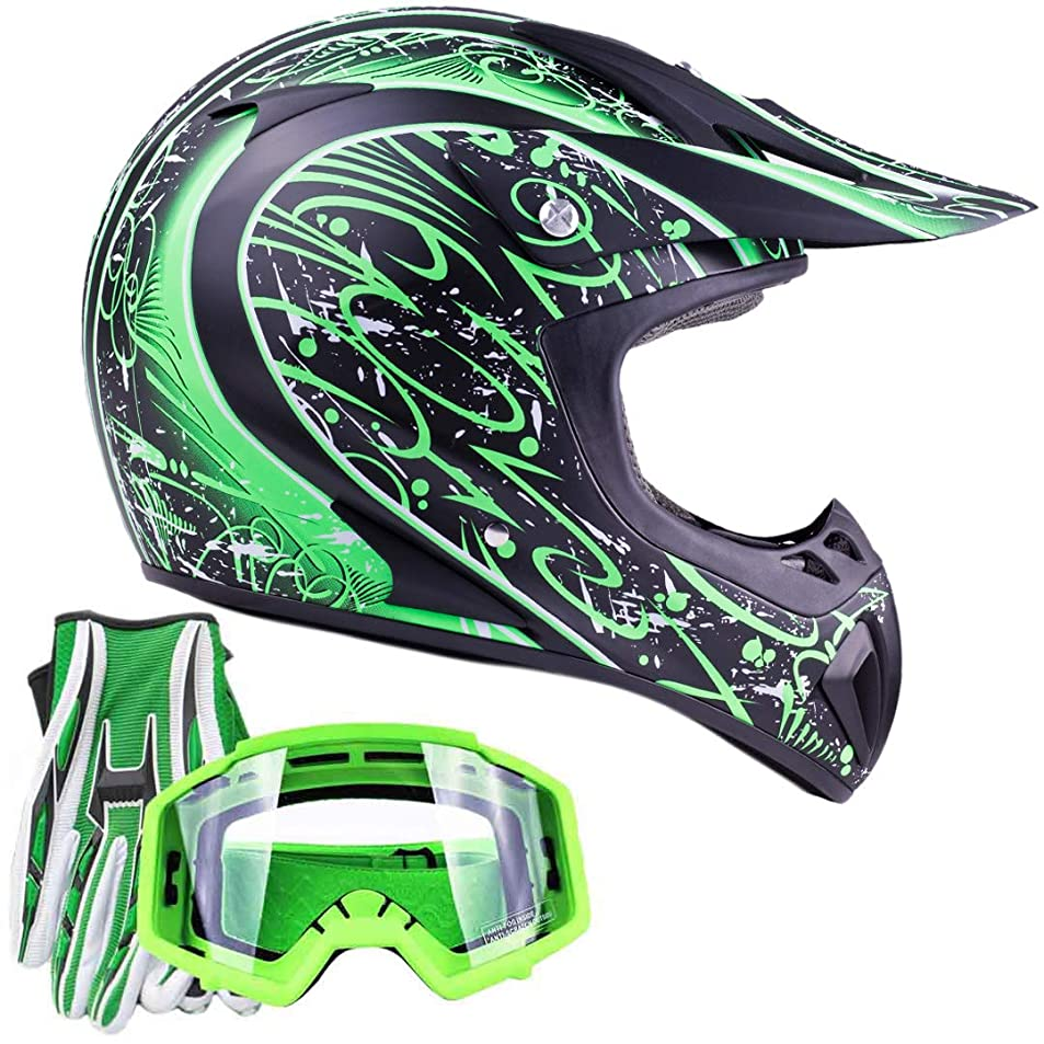 Typhoon Adult ATV MX Helmet Goggles Gloves Gear Combo Matte Green w/Green (Small) gsrdfruw9360
