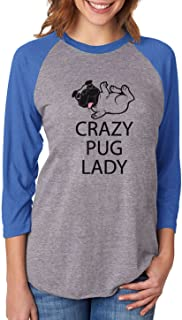 Crazy Pug Lady Gift for Dog Lover Funny 3/4 Women Sleeve Baseball Jersey Shirt