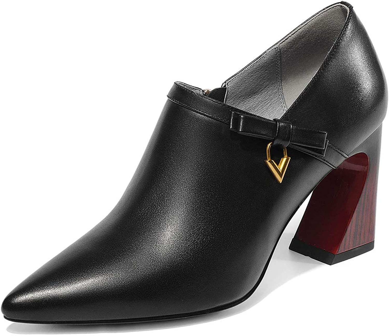 Gfphfm damen es schuhe, 2019 New Metal Metal Metal Side Zipper Deep Mouth Single schuhe Spring Fall Leather Fashion Pointed High Heels Ladies Wedding Party schuhe,A,38  6ce751