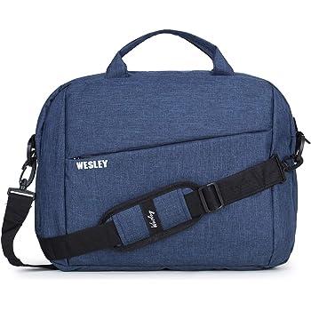 Wesley Office Laptop Bag Briefcase Notebook Professional Business 15.6 Inch Briefcase Messenger Sling College Bag Water Resistant Laptop Bag Tablet Business Carrying Handbag for Women and Men (Blue)…