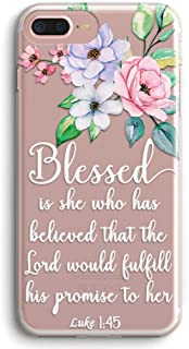 iPhone 7 Plus Case,iPhone 8 Plus Case,Stunning Flowers Floral with Holy Bible Verses Inspirational Christian Quotes Luke 1:45 Clear Back TPU Protective Case for iPhone 7/8 Plus