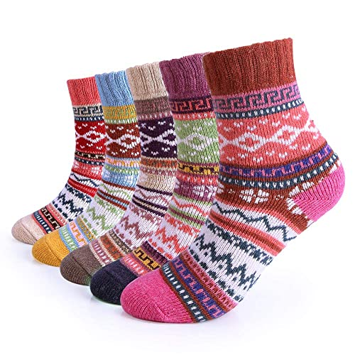 5 Pairs Women Winter Knitting Thicken Warm Cotton Socks Thermal Socks  Assorted Patterns UK 4.5- 4fa80e25a498