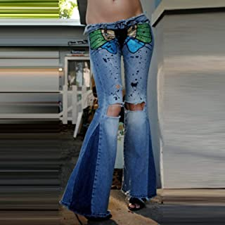 HINK Pantalones de Talla Grande, Pantalones Vaqueros Desgastados con Costuras de Bolsillo Recto de Mezclilla nuevos para M...