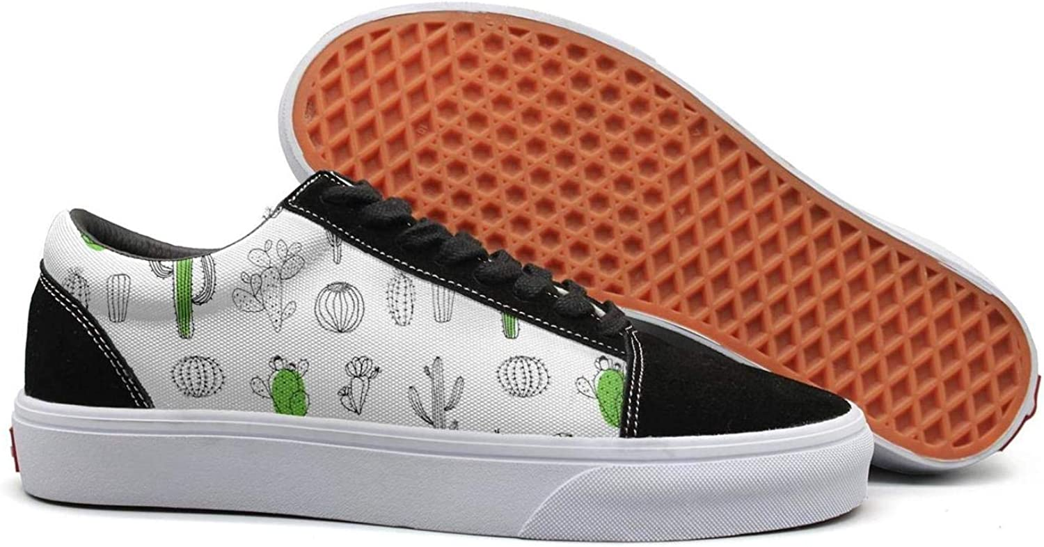 Wuixkas Cactus Party Womens Canvas Upper Sneakers Lace up Funny Fashion Loafer Canvas shoes