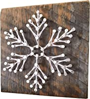 Snowflake holiday home decore sign. Rustic winter home accents. Snowflake art for winter cabins, Wall art