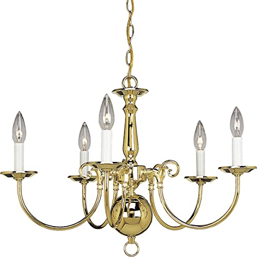 2021 Progress Lighting P4346-10 5-Light Americana Chandelier with Delicate Arms and discount Decorative popular Center Column, Polished Brass outlet sale