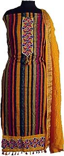 KATHIWALAS Women's Cotton Silk Bandhani Kutchh Work Dress Material (COLOUR BATIK, Yellow, Free Size) …