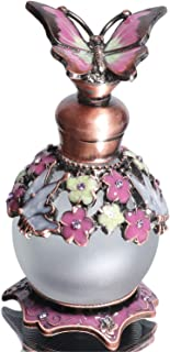 Waltz&F Pink Butterfly Jeweled Vintage Perfume Bottle Empty Refillable Essential Oil Bottle 15ml