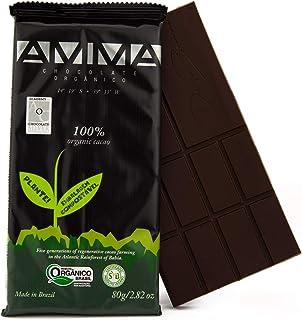AMMA Organic Dark Chocolate - 100% Pure Cacao, No Sugar, No sweeteners. Delicious Keto Snack, Rich in Healthy Fats and Ant...