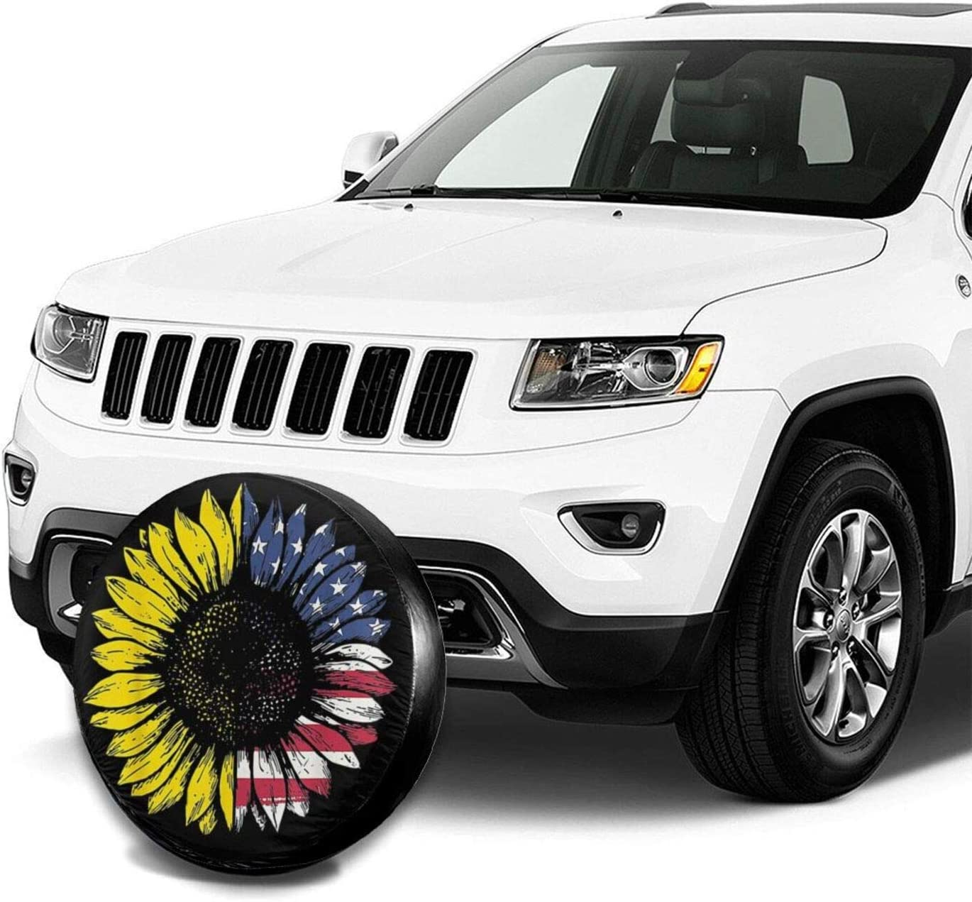 QNOQME Sunflower American Flag Tire Cover Uv Sun Waterproof Dust-Proof Spare Wheel Protection Fit for Jeep//Trailer//Rv//SUV and Many Vehicle
