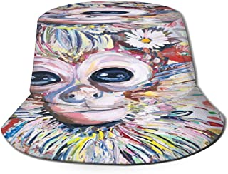 Fisherman Hat Colorful Animal Monkey Sun Hat Women Men Eye Protect Breathable Bonnie Cap 3D Printed Beach Hat Durable&Reversible for Summer Outdoor