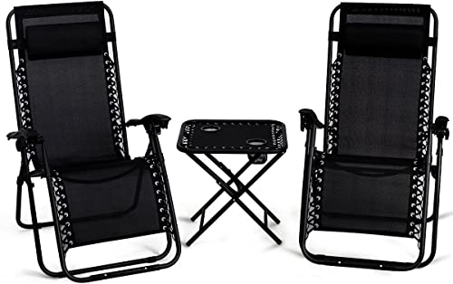2021 Giantex 3 PCS Zero Gravity Chair Patio Chaise Lounge discount Chairs Outdoor Yard sale Pool Recliner Folding Lounge Table Chair Set (Black) outlet online sale