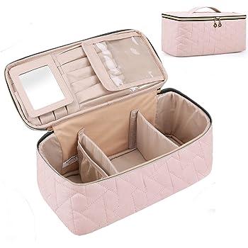 BAGSMART - Neceser grande para maquillaje, bolsa de aseo para mujer, color rosa