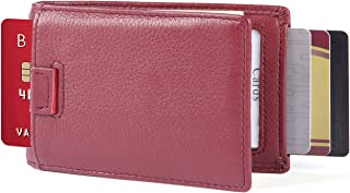 iPulse Minimalist Slim Bilfold Full Grain Leather Wallets With Money Clip And RFID Protection