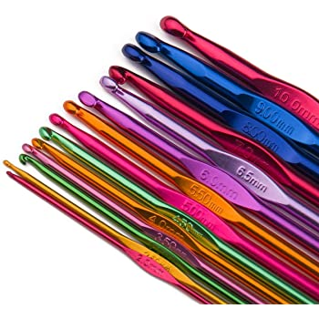 Luxbon Conjunto de 14 Tamaños Ganchos de Ganchillo de Aluminio Multicolor Establece Agujas de Tejer 2 mm-10 mm en Una Bolsa de Plástico/Caja
