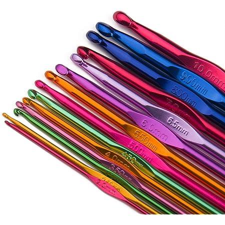 Luxbon 14pcs Crochets en Aluminium Tricot Outils Multicolore 2-10mm Crochets Aiguilles à Tricoter Craft - Débutants et Professionnels