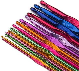 Luxbon 14pcs Crochets en Aluminium Tricot Outils Multicolore 2-10mm Crochets Aiguilles à Tricoter Craft - Débutants et Pro...