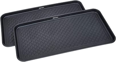GREAT WORKING TOOLS Boot Trays - Set of 2 Black All Weather Heavy Duty Shoe Trays, Pet Bowl Mats Trap Mud, Water and Food ...