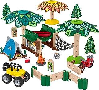 Fisher-Price Wonder Makers Design System Soft Slumber Campground - Más de 60 piezas de construcción y juego de pista de madera para edades de 3 años en adelante