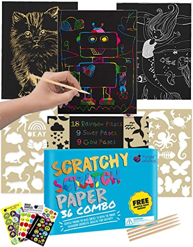 Purple Ladybug Scratch Paper Art Set for Kids - 36 Full Sized Sheets with 3 Unique Colors: Rainbow, Gold, Silver + St...