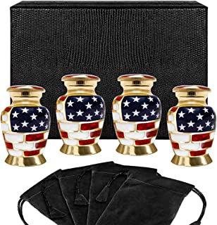 Trupoint Memorials Patriotic Small Keepsake Urns for Human Ashes - Set of 4 - for Veterans First Responders and Patriots T...