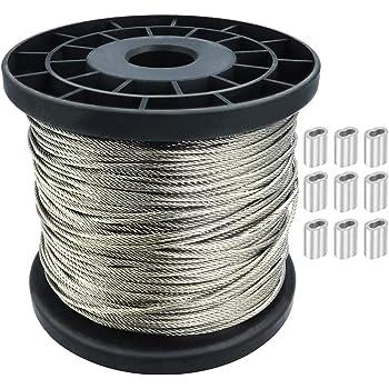 Amazon Com Kingchain 504711 1 8 X 50 Galvanized Aircraft Cable Kit Home Improvement