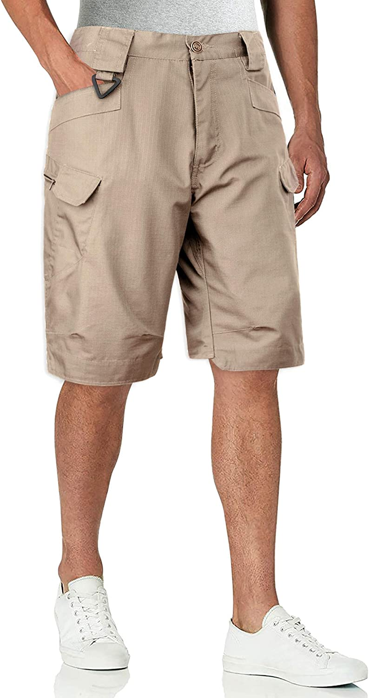 Alimens & Gentle Men's Cargo Short Elastic Waist Multi-Pocket Outdoor Military Tactical Shorts