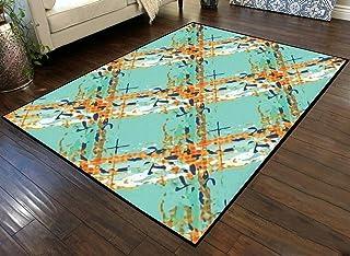 Large Area Runner Rug Movie Mat Watercolor Effect Wicker Weave Seamless Pattern Background Non-Slip Floor Mat Doormats Ind...