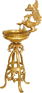 Large Size Lamp with Hanging Bells and Ghungroos (with Urli Bowl) - Brass Statue