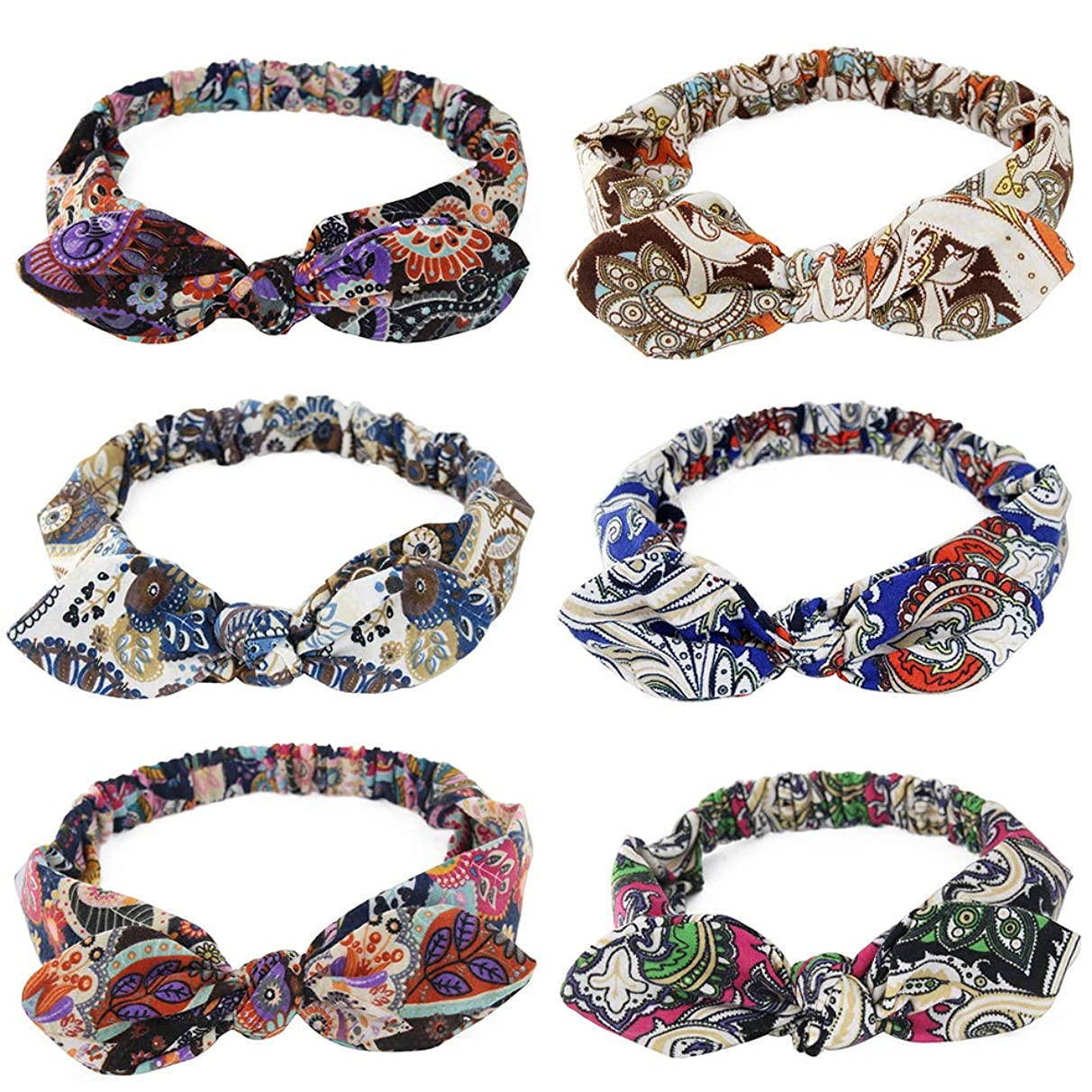Carede Elastic Paisley Bandana Headband Bohemian Turban Head Wrap Sport Yoga Knot Headbands With Rabbit Ears Bow Hair Band and Accessories for Girls and Women,Pack of 6
