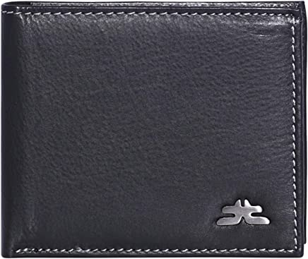 Laveri Bifold Wallet for Men - Leather, Black and Grey