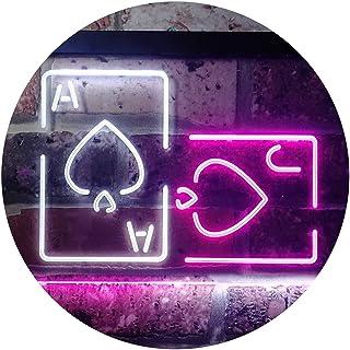 Black Jack Poker Casino Room Dual Color LED Neon Sign White & Purple 300 x 210mm st6s32-i3193-wp