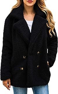 AONTUS Women's Fuzzy Fleece Open Front Cardigan Jacket Coat Outwear with Pockets