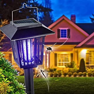 New & Improved Solar Powered Zapper- Enhanced Outdoor Flying Insect Killer- Hang or..