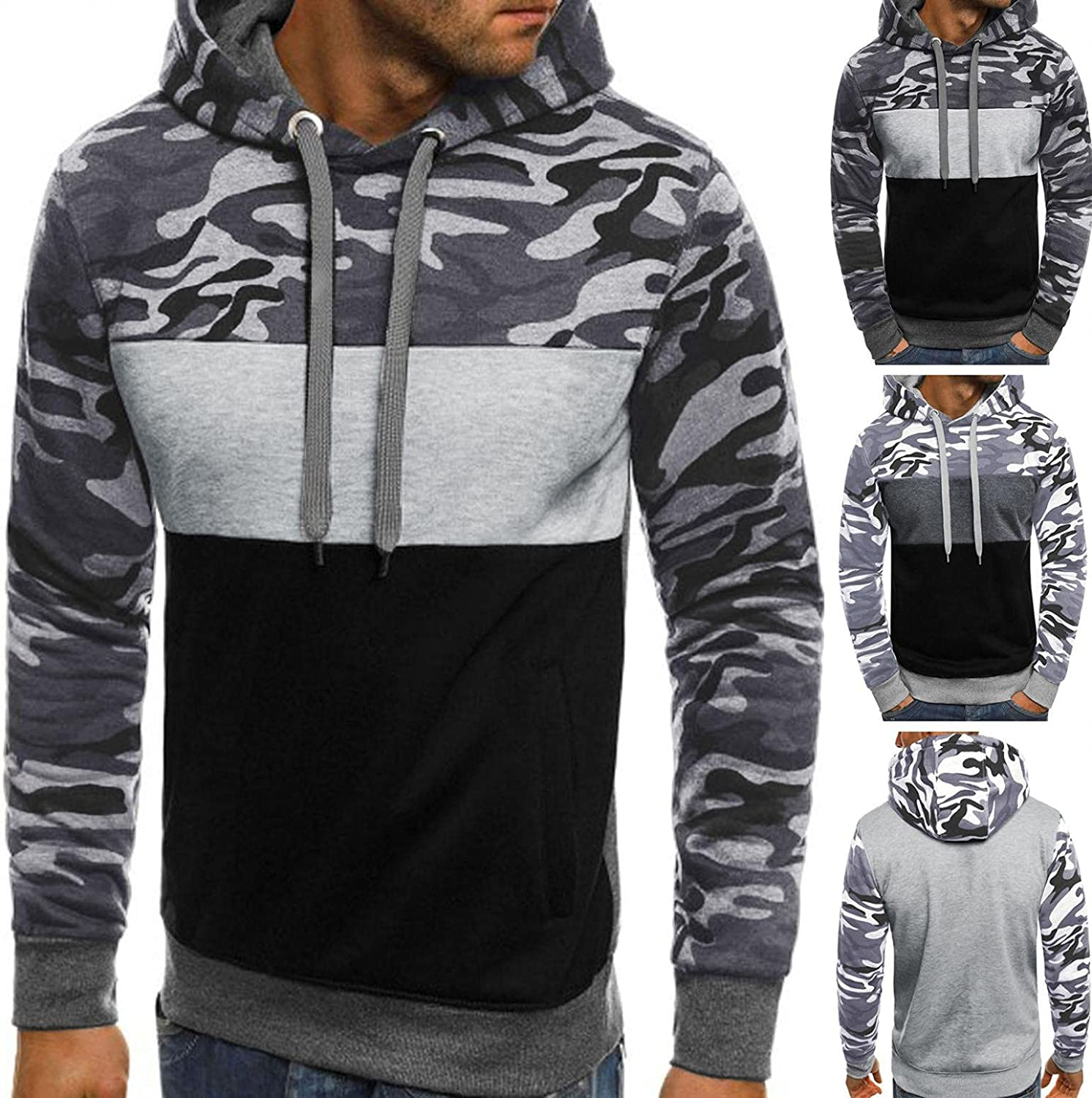 Men Hooded Sweatshirts Casual Sports Camouflage Patchwork Hoodies Pullover Yoga Workout Long Sleeve Tops Men's Sweaters